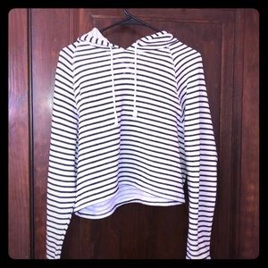 Cute White And Black Striped Cropped Hoodie